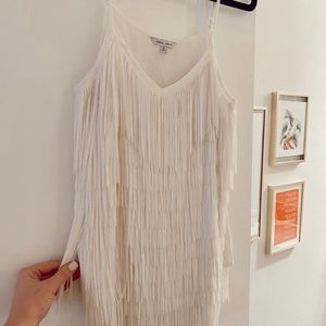 White Fringe Tank Top